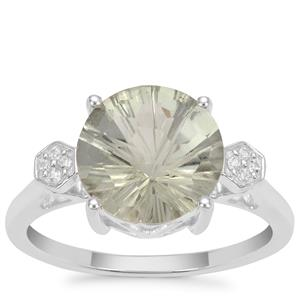 Honeycomb Cut Prasiolite Ring with White Zircon in Sterling Silver 3.35cts