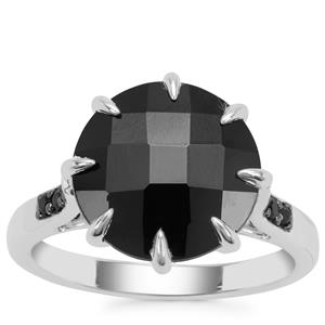 Black Spinel Ring in Sterling Silver 6.18cts