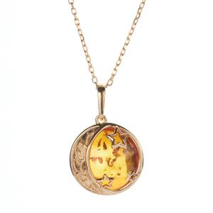 Baltic Cognac Amber Necklace in Gold Tone Sterling Silver (19mm)