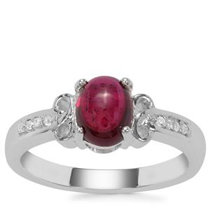 Rajasthan Garnet Ring with White Zircon in Sterling Silver 2.06cts