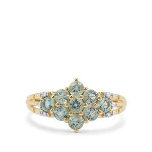 Aquaiba™ Beryl & Diamond 9K Gold Ring ATGW 0.86ct