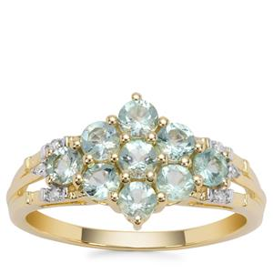 Aquaiba™ Beryl Ring with Diamond in 9K Gold 0.86cts