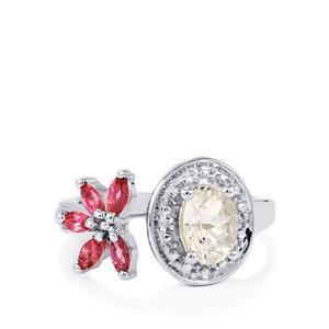 Zambezia Morganite, Pink Tourmaline & Diamond Sterling Silver Ring ATGW 1.30cts