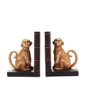 Macaques Monkey Bookshelf Ends in Gold Colour