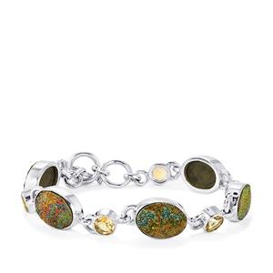 Spectropyrite Drusy Bracelet with Rio Golden Citrine in Sterling Silver 30cts