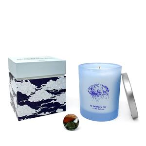 Gem Auras St Swithins Candle with Marigold Fragrance and a Bloodstone Gemstone ATGW 40cts
