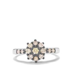 Multi-Colour Diamond Ring in Sterling Silver 0.55ct