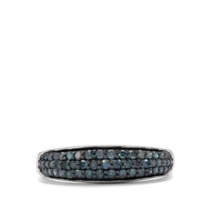 1/2ct Blue Diamond Sterling Silver Ring