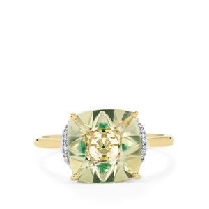 Lehrer KaleidosCut Chartreuse Sanidine, Zambian Emerald Ring with Diamond in 10K Gold 3.08cts