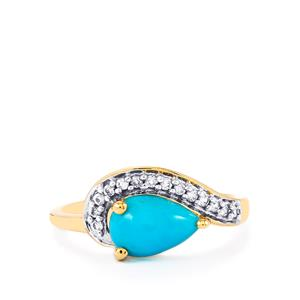 Sleeping Beauty Turquoise & Ratanakiri Zircon 10K Gold Ring ATGW 1.35cts