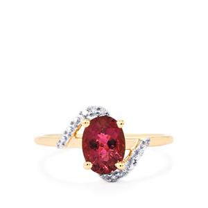 Cruzeiro Rubellite Ring with Diamond in 10k Gold 1.17cts