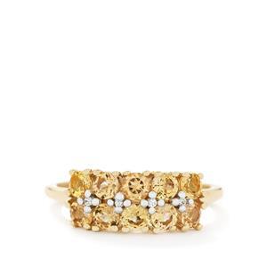 Ouro Preto Imperial Topaz & White Zircon 9K Gold Ring ATGW 1.26cts