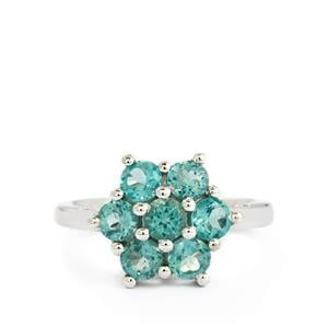 1.90ct Madagascan Blue Apatite Sterling Silver Ring
