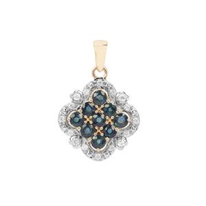 Natural Nigerian Blue Sapphire Pendant with White Zircon in 9K Gold 1.36cts