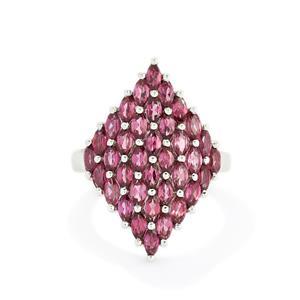 3.86ct Rhodolite Garnet Sterling Silver Ring