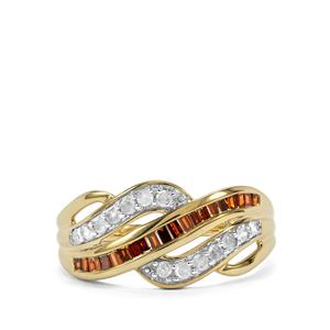 Red Diamond Ring with White Diamond in 10K Gold 0.51ct