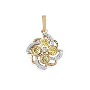 Natural Coloured Diamond Pendant with White Diamond in 10K Gold 0.56ct