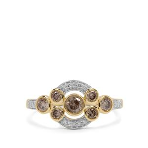 Champagne Diamond Ring with White Diamond in 9K Gold 0.76cts