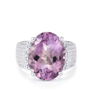 Rose De France Amethyst Ring with White Topaz in Sterling Silver 8.15cts