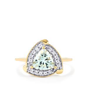 Pedra Azul Aquamarine & White Zircon 10K Gold Ring ATGW 1.17cts