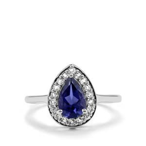 Bengal Iolite & White Topaz Sterling Silver Ring ATGW 1.37cts