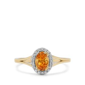 Mandarin Garnet & White Zircon 9K Gold Ring ATGW 1.05cts