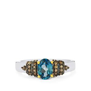 Marambaia London Blue Topaz Ring with Champagne Diamond in Sterling Silver 1.08cts