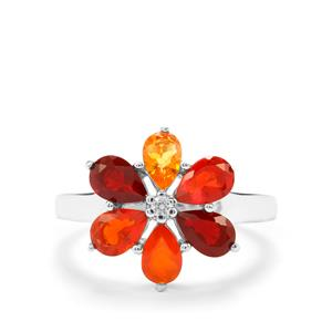 Mexican Fire Opal Ring with White Zircon in Sterling Silver 1.45cts