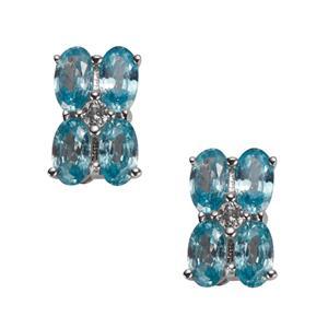 Ratanakiri Blue Zircon & White Topaz Sterling Silver Earrings ATGW 2.74cts