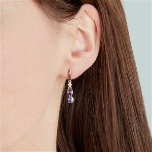 Natural Purple Sapphire Earrings with White Zircon in 10K Gold 1.65cts