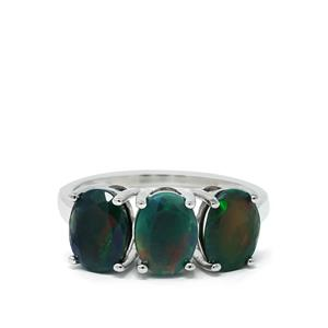 Ethiopian Midnight Opal Ring in Sterling Silver 2.36cts
