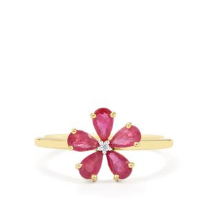 Siam Ruby Ring with White Zircon in 9K Gold 1cts