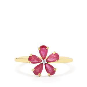 Siam Ruby & White Zircon 9K Gold Ring ATGW 1cts