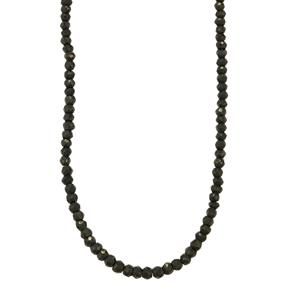 Black Spinel Graduated Bead Necklace in Sterling Silver 50cts