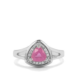 Ilakaka Hot Pink Sapphire & Diamond Sterling Silver Ring ATGW 1.10cts (F)