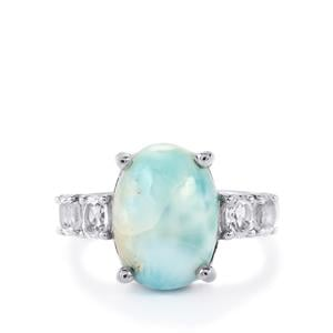 Larimar & White Topaz Sterling Silver Ring ATGW 6.89cts
