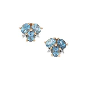 Nigerian Aquamarine Earrings with Diamond in 9K Gold 0.96ct
