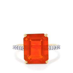 AAA Orange American Fire Opal Ring with White Zircon in 10k Gold 4.23cts
