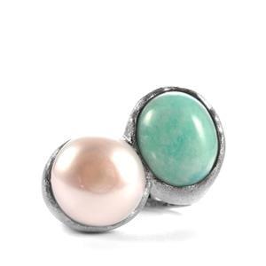 Amazonite & Kaori Cultured Pearl Sterling Silver Sarah Bennett Ring