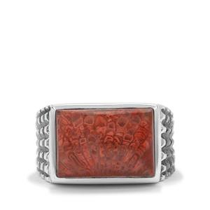 7ct Red Horn Coral Sterling Silver Ring