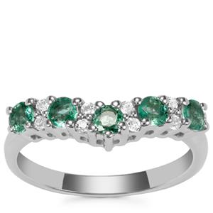 Carnaiba Brazilian Emerald Ring with White Topaz in Sterling Silver 0.67ct