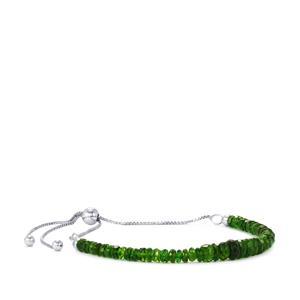 Chrome Diopside Slider Bead Bracelet in Sterling Silver 11.50cts