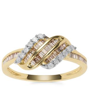 Champagne Diamond Ring with White Diamond in 9K Gold 0.53ct