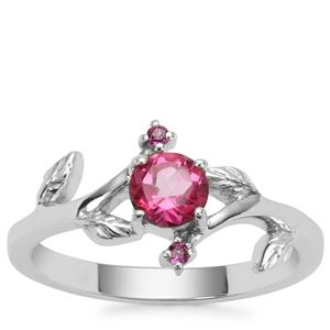 Mystic Pink Topaz Ring with Comeria Garnet in Sterling Silver 0.63ct