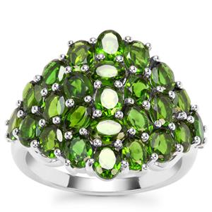 Chrome Diopside Ring with White Zircon in Sterling Silver 4.58cts