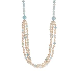 Kaori Cultured Pearl Necklace with Aquamarine in Sterling Silver