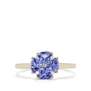 AA Tanzanite Ring with Diamond in 10K Gold 1ct