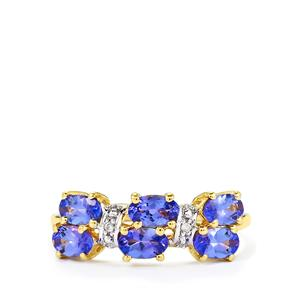 AA Tanzanite & Diamond 10K Gold Ring ATGW 1.39cts