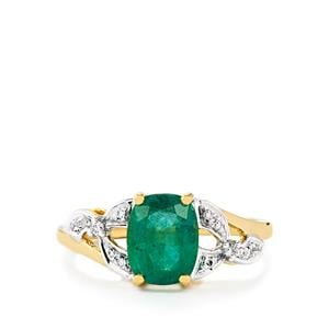Zambian Emerald & Diamond 18k Gold Tomas Rae Ring MTGW 1.65cts