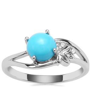 Sleeping Beauty Turquoise Ring with White Zircon in Sterling Silver 1.40cts
